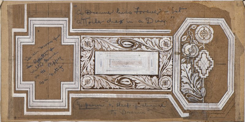 Lucile Lloyd: Architectural design for a ceiling with poppy design