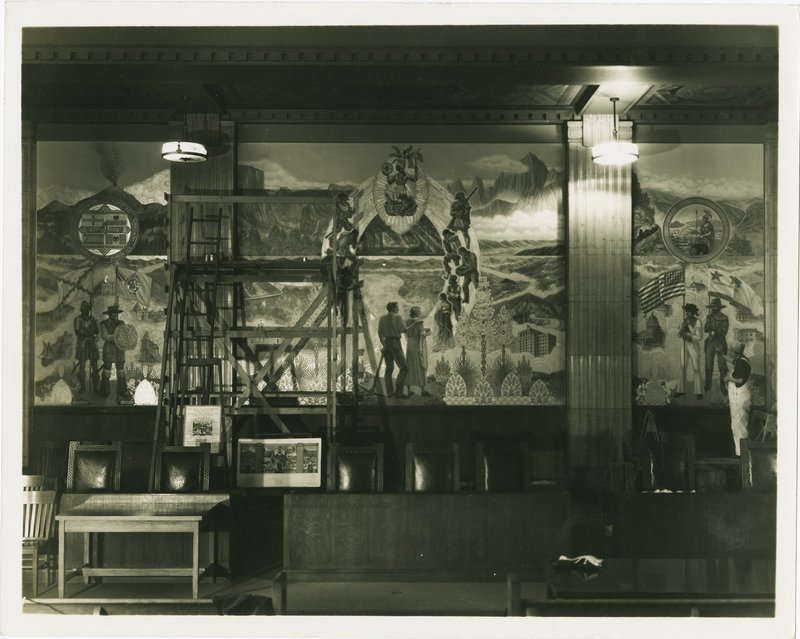 """California's Name"" WPA mural in progress, California State Building, Los Angeles, 1938"
