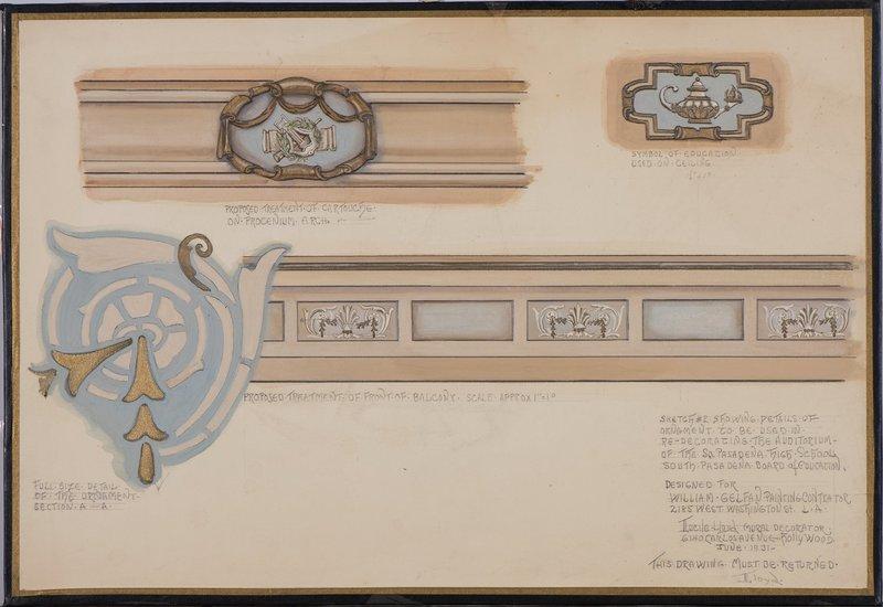 Study of decoration for auditorium, South Pasadena High School, Pasadena, Calif, 1931