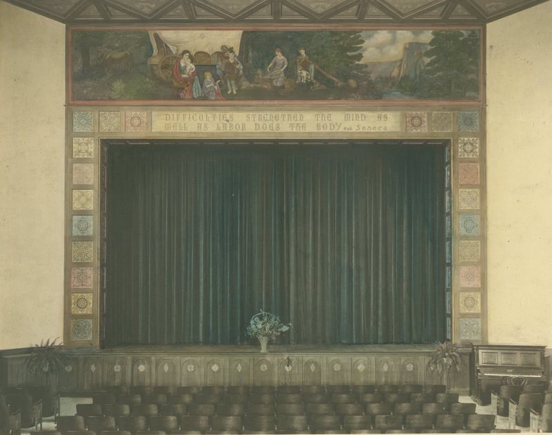 South Pasadena Junior High School auditorium proscenium arch with Madonna of the Covered Wagon mural, 1928