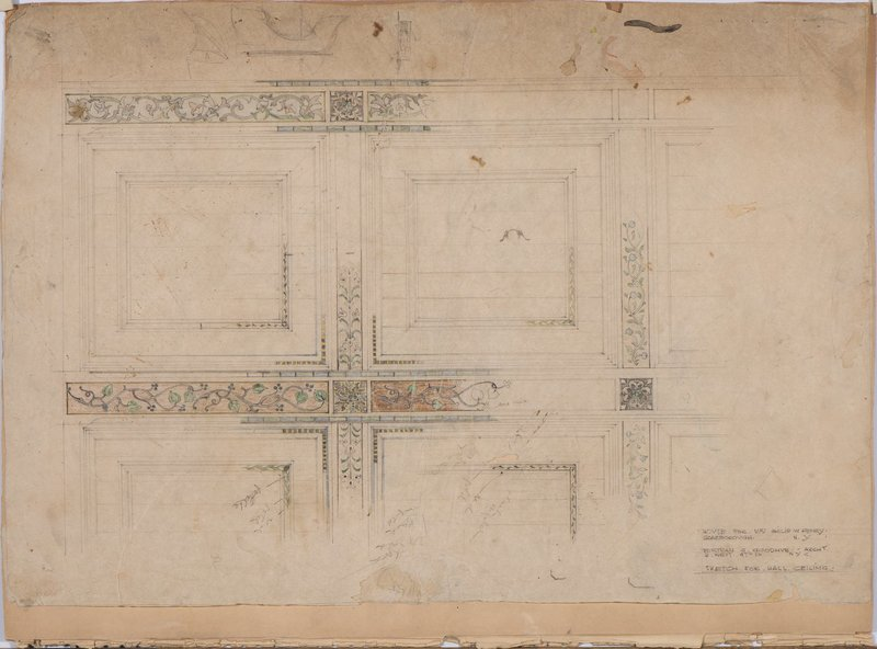 Lucile Lloyd: Sketch for great hall ceiling ornament (Scarborough, New York)