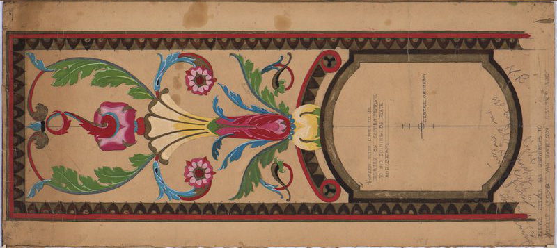 Lucile Lloyd: Study for a beam and rafter ceiling with floral pattern