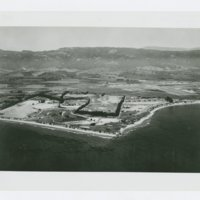 World War II Marine base and future site of UC Santa Barbara: aerial view of site and coastline